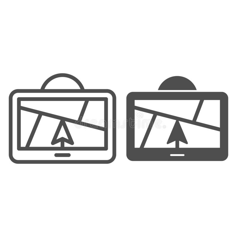 Γραμμή και glyph εικονίδιο πλοηγών ΠΣΤ Δορυφορική διανυσματική απεικόνιση ΠΣΤ που απομονώνεται στο λευκό Σχέδιο ύφους περιλήψεων  διανυσματική απεικόνιση