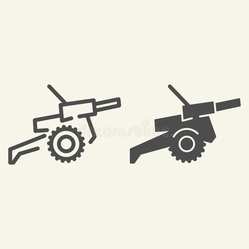 Γραμμή και glyph εικονίδιο πυροβόλων Πολεμική απεικόνιση που απομονώνεται διανυσματική στο λευκό Σχέδιο ύφους περιλήψεων όπλων, π απεικόνιση αποθεμάτων