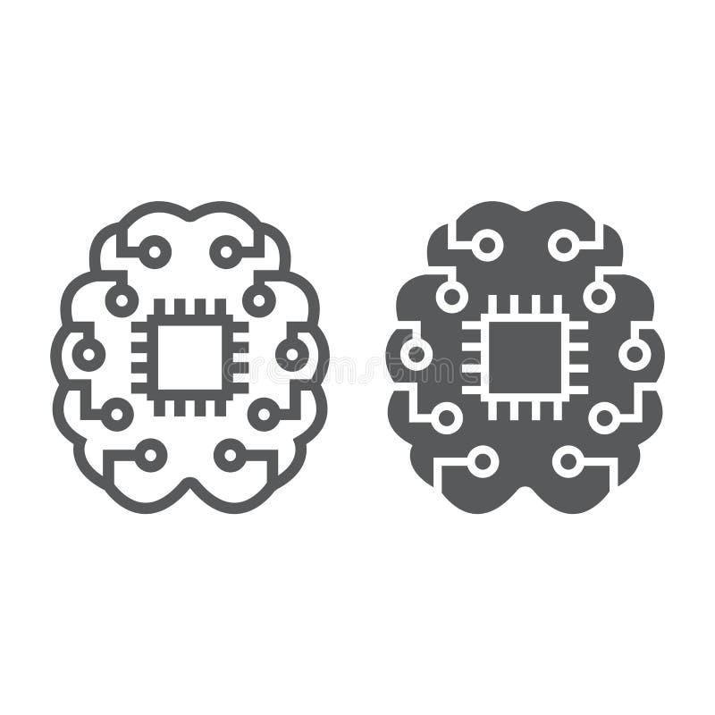 Γραμμή και glyph εικονίδιο σκέψης μηχανών απεικόνιση αποθεμάτων