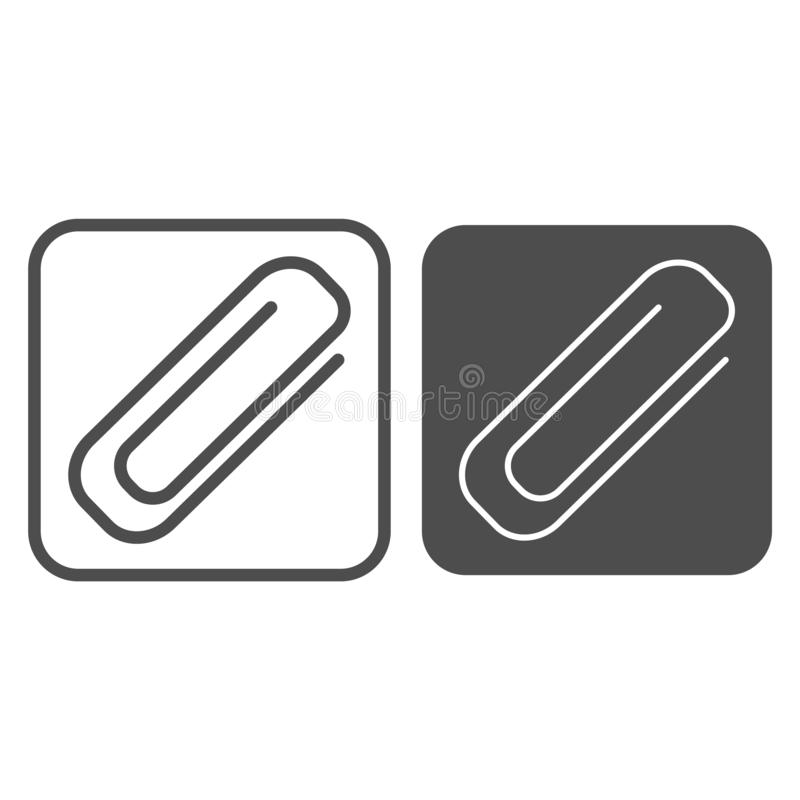 Γραμμή και glyph εικονίδιο συνδετήρων Paperclip απεικόνιση που απομονώνεται διανυσματική στο λευκό Clinch σχέδιο ύφους περιλήψεων απεικόνιση αποθεμάτων