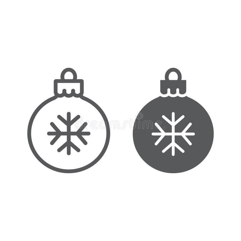 Γραμμή και glyph εικονίδιο σφαιρών χριστουγεννιάτικων δέντρων διανυσματική απεικόνιση