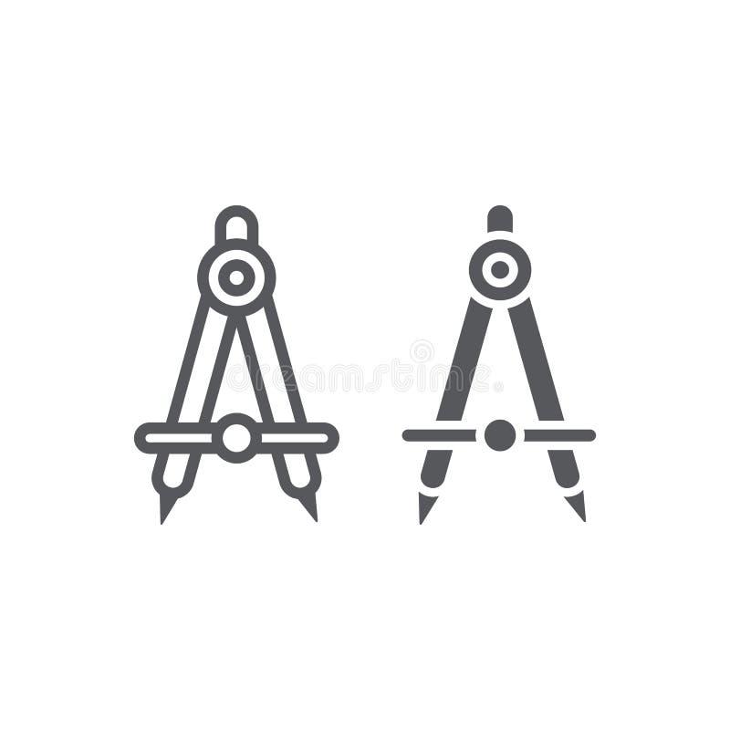 Γραμμή και glyph εικονίδιο σχολικών πυξίδων, αρχιτέκτονας και σύνταξη, σημάδι εξοπλισμού εφαρμοσμένης μηχανικής, διανυσματική γρα απεικόνιση αποθεμάτων