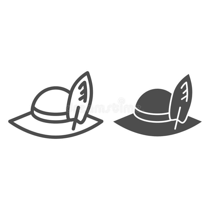 Γραμμή και glyph εικονίδιο ταξιδιωτικών καπέλων Παραλιών του Παναμά καπέλων απεικόνιση που απομονώνεται διανυσματική στο λευκό Σχ διανυσματική απεικόνιση