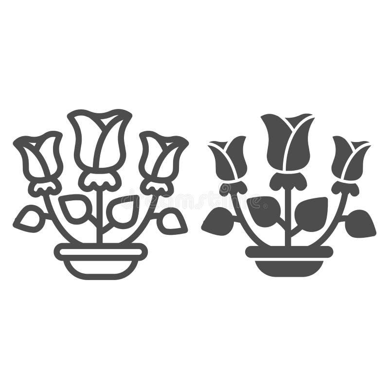 Γραμμή και glyph εικονίδιο τριαντάφυλλων Λουλούδια στη διανυσματική απεικόνιση δοχείων που απομονώνεται στο λευκό Το σχέδιο ύφους απεικόνιση αποθεμάτων