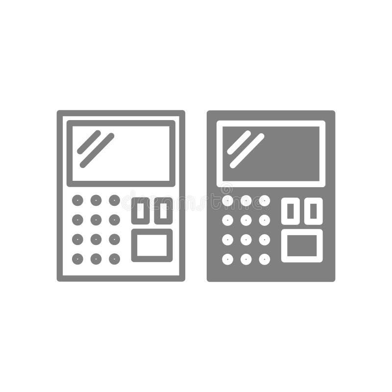 Γραμμή και glyph εικονίδιο υπολογιστών Λογιστικής απεικόνιση που απομονώνεται διανυσματική στο λευκό Υπολογίστε το σχέδιο ύφους π διανυσματική απεικόνιση