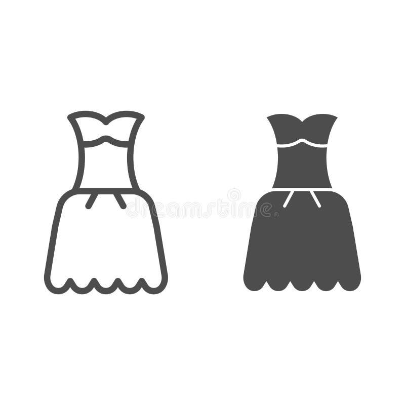 Γραμμή και glyph εικονίδιο φορεμάτων Εσθήτων απεικόνιση που απομονώνεται διανυσματική στο λευκό Σχέδιο ύφους περιλήψεων ενδυμάτων ελεύθερη απεικόνιση δικαιώματος