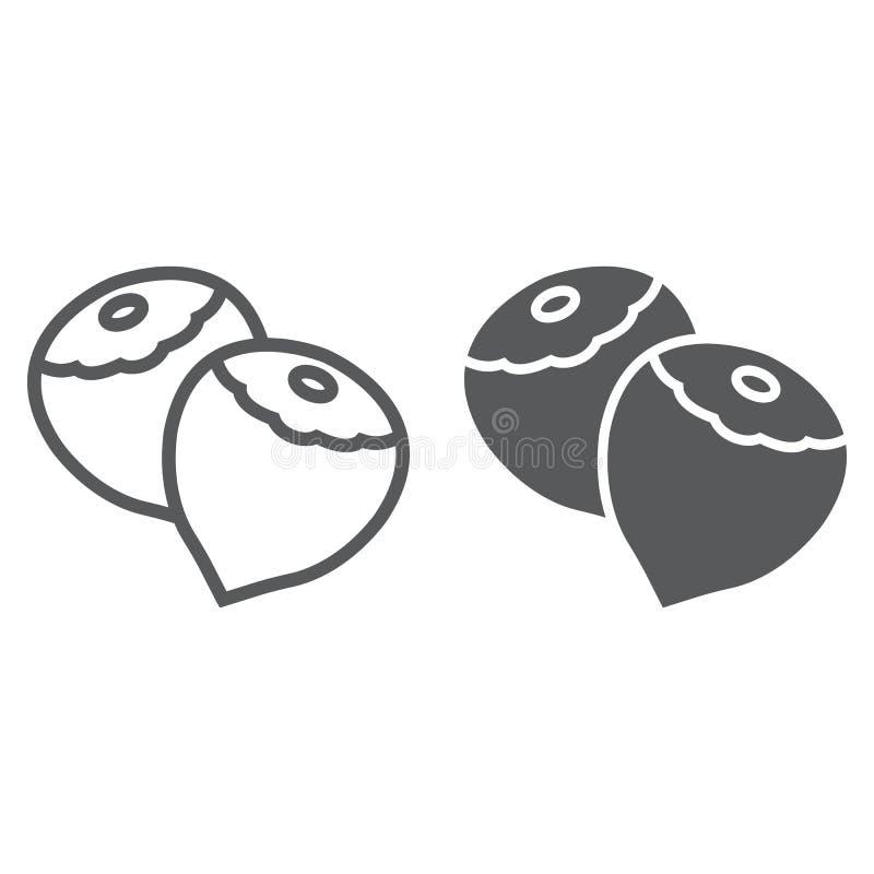 Γραμμή και glyph εικονίδιο φουντουκιών, λαχανικό και καρύδι, διανυσματική απεικόνιση
