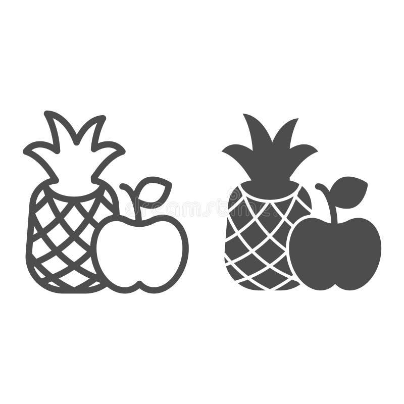 Γραμμή και glyph εικονίδιο φρούτων Διανυσματική απεικόνιση ανανά και μήλων που απομονώνεται στο λευκό Σχέδιο ύφους περιλήψεων τρο απεικόνιση αποθεμάτων