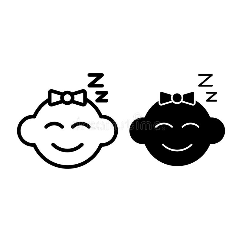 Γραμμή και glyph εικονίδιο ύπνου μωρών Μωρών προσώπου απεικόνιση που απομονώνεται διανυσματική στο λευκό Σχέδιο ύφους περιλήψεων  ελεύθερη απεικόνιση δικαιώματος