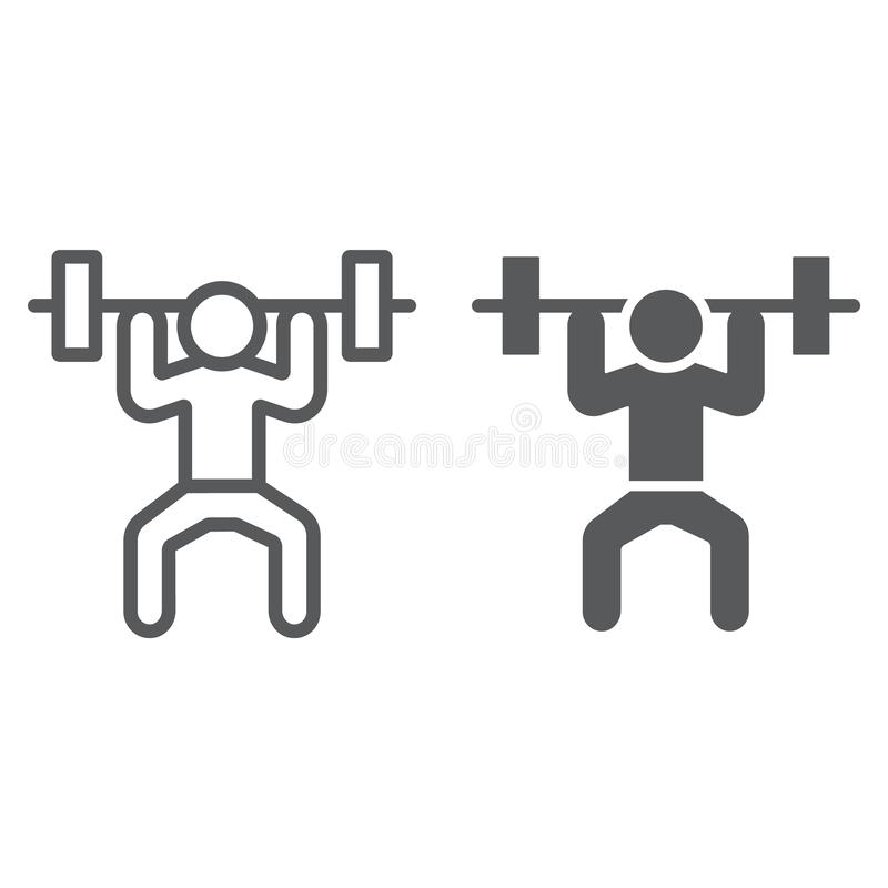 Γραμμή και glyph εικονίδιο Weightlifter, αθλητισμός και, weightlifting σημάδι, διανυσματική γραφική παράσταση, ένα γραμμικό σχέδι ελεύθερη απεικόνιση δικαιώματος