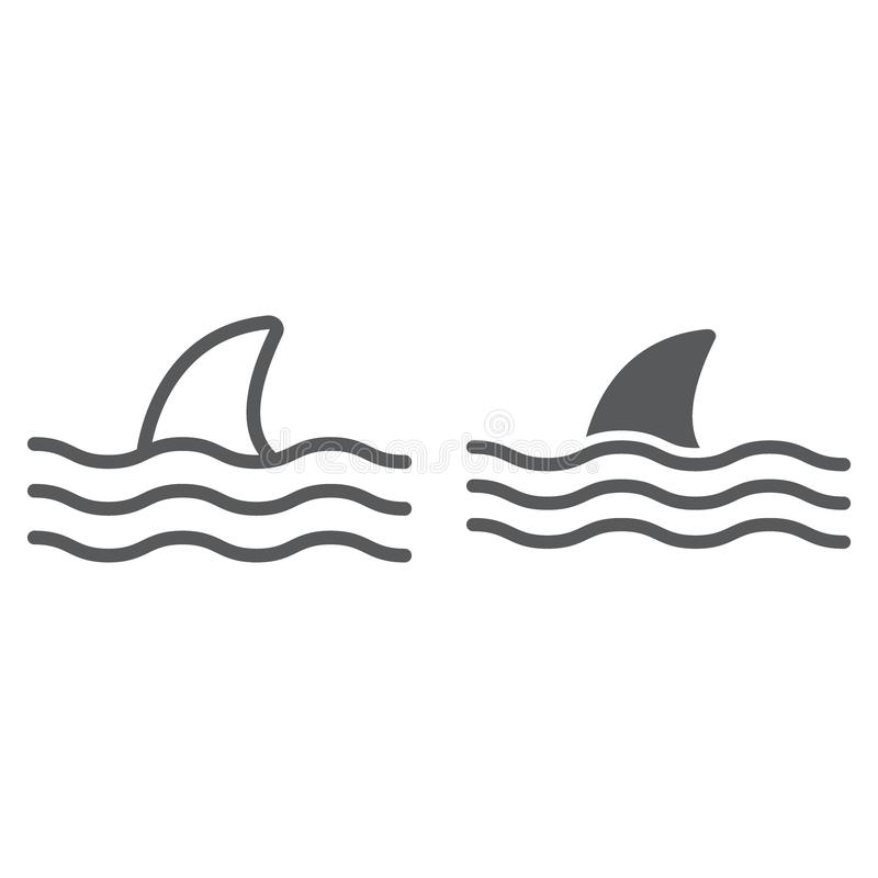 Γραμμή καρχαριών και glyph εικονίδιο, ζώο ελεύθερη απεικόνιση δικαιώματος