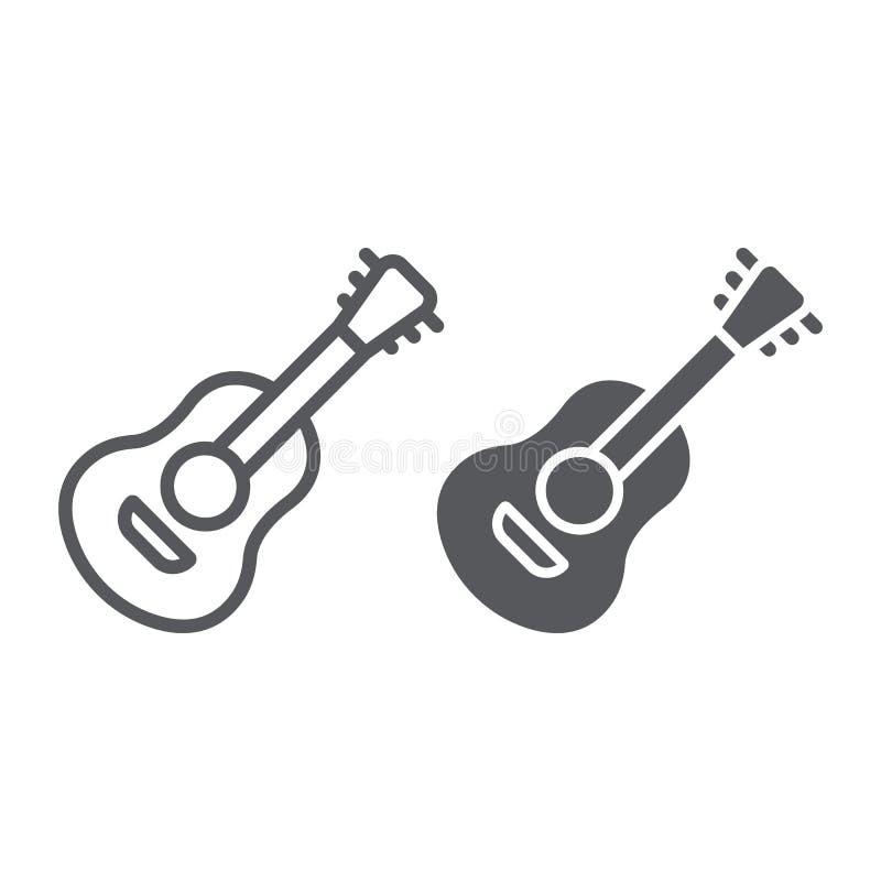 Γραμμή κιθάρων και glyph εικονίδιο, ήχος και μουσική, μουσικό σημάδι οργάνων, διανυσματική γραφική παράσταση, ένα γραμμικό σχέδιο ελεύθερη απεικόνιση δικαιώματος