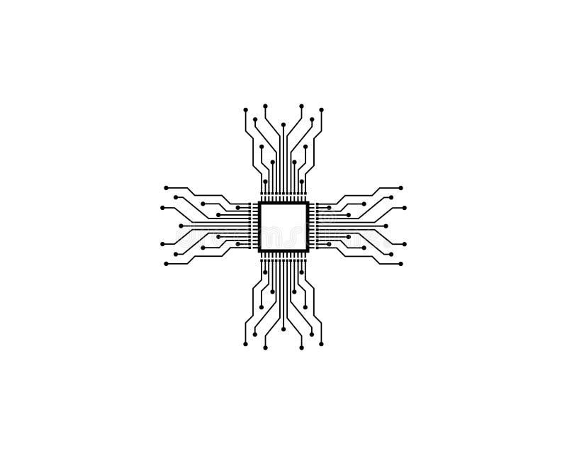 γραμμή ΚΜΕ, ολοκληρωμένο κύκλωμα, gpu, illustratio πινάκων κυκλωμάτων σχεδίου έννοιας κριού ελεύθερη απεικόνιση δικαιώματος
