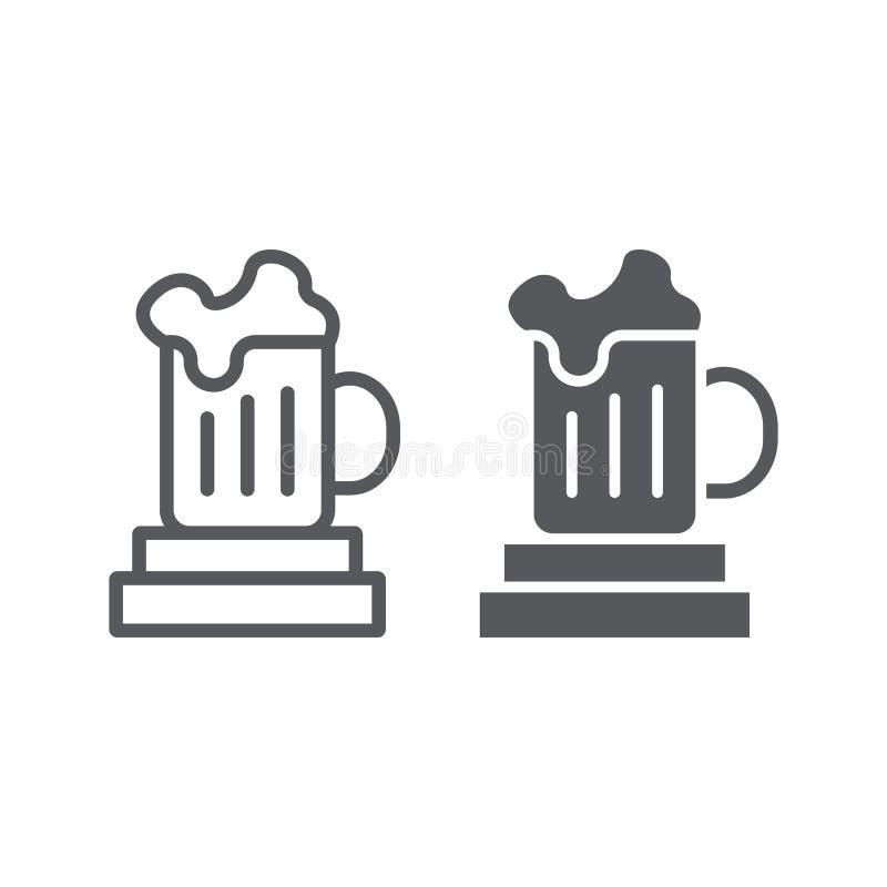 Γραμμή κουπών μπύρας και glyph εικονίδιο, ποτό και γυαλί, σημάδι φλυτζανιών μπύρας, διανυσματική γραφική παράσταση, ένα γραμμικό  απεικόνιση αποθεμάτων