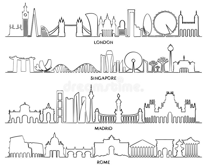 Γραμμή κτηρίου εικονικής παράστασης πόλης, διανυσματικό σχέδιο Λονδίνο, αμαρτία απεικόνισης απεικόνιση αποθεμάτων