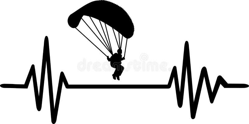 Γραμμή κτύπου της καρδιάς αλεξίπτωτων απεικόνιση αποθεμάτων