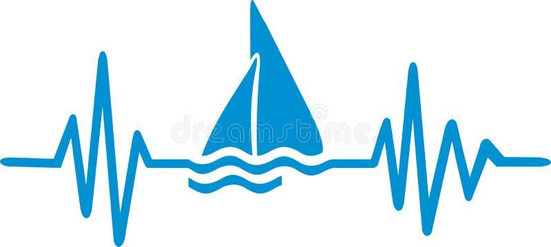 Γραμμή κτύπου της καρδιάς Sailingboat ελεύθερη απεικόνιση δικαιώματος