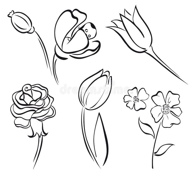 γραμμή λουλουδιών τέχνης ελεύθερη απεικόνιση δικαιώματος