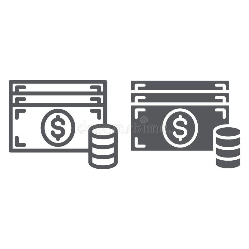 Γραμμή μετρητών και glyph εικονίδιο, χρηματοδότηση και νόμισμα, σημάδι χρημάτων, διανυσματική γραφική παράσταση, ένα γραμμικό σχέ ελεύθερη απεικόνιση δικαιώματος
