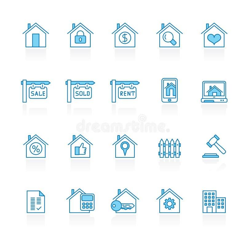 Γραμμή με τα εικονίδια μπλε κτηρίου υποβάθρου και ακίνητων περιουσιών ελεύθερη απεικόνιση δικαιώματος