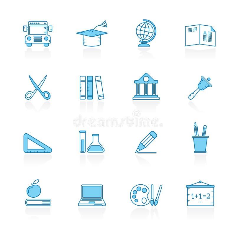 Γραμμή με τα μπλε εικονίδια εκπαίδευσης και σχολείων υποβάθρου ελεύθερη απεικόνιση δικαιώματος