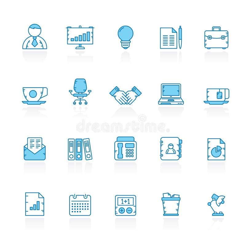 Γραμμή με τα μπλε εικονίδια εξοπλισμού επιχειρήσεων και γραφείων υποβάθρου διανυσματική απεικόνιση