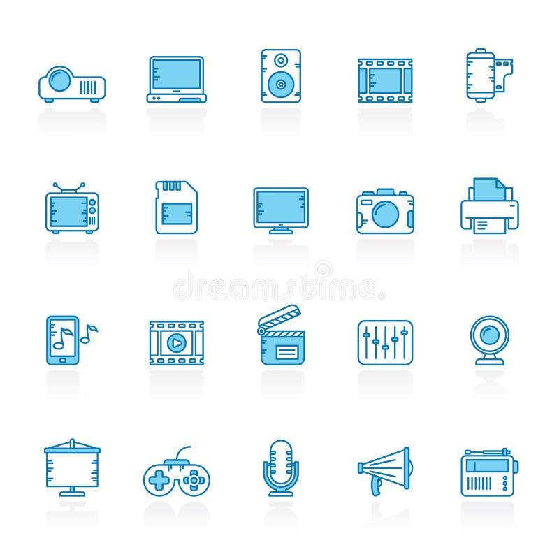 Γραμμή με τα μπλε εικονίδια πολυμέσων υποβάθρου σύγχρονα απεικόνιση αποθεμάτων