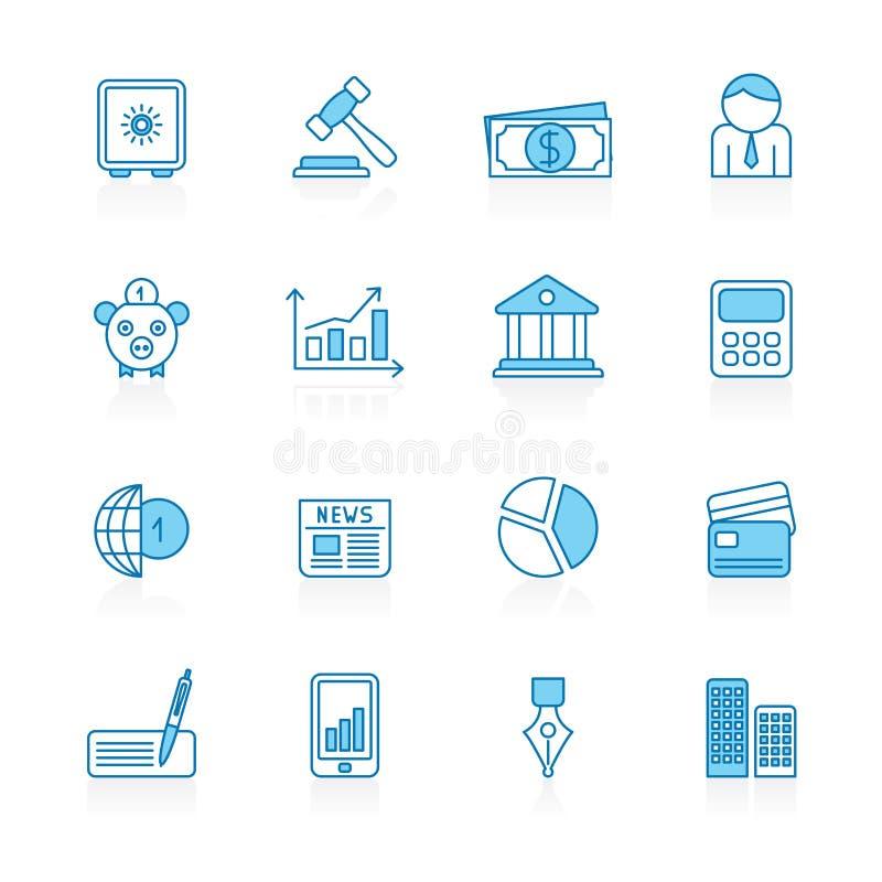 Γραμμή με την μπλε επιχείρηση υποβάθρου, εικονίδια τραπεζικών εργασιών και χρηματοδότησης διανυσματική απεικόνιση