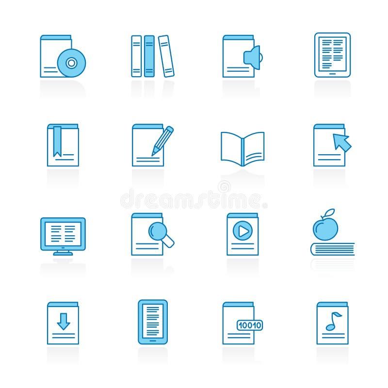 Γραμμή με το μπλε βιβλίο υποβάθρου, εικονίδια βιβλιοθήκης και εκπαίδευσης ελεύθερη απεικόνιση δικαιώματος
