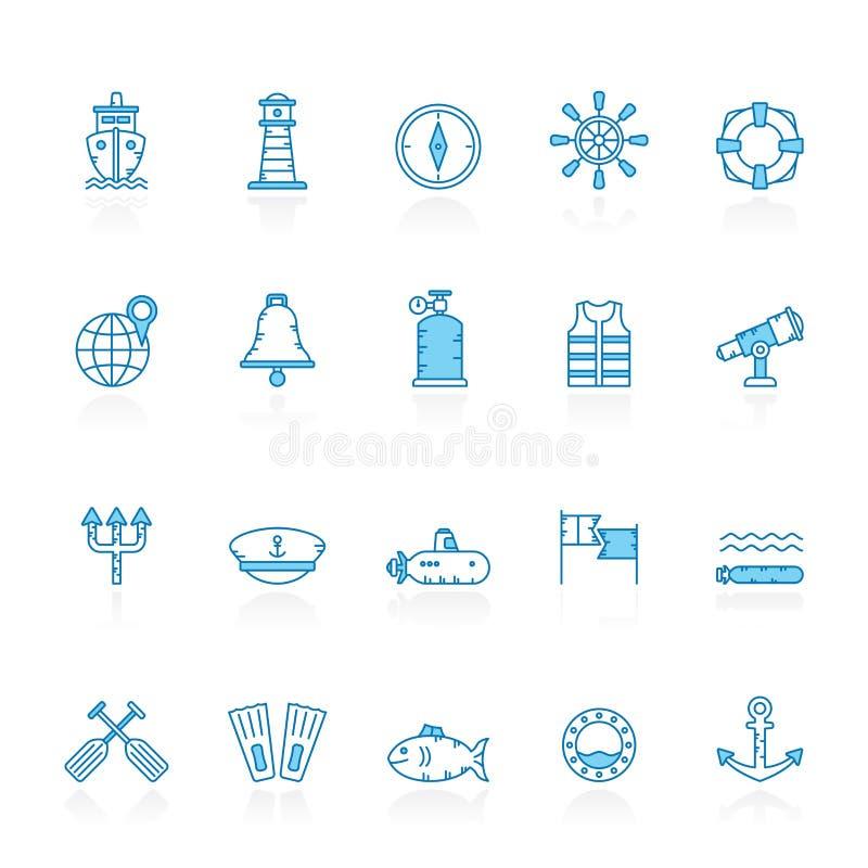 Γραμμή με το μπλε ναυτικό υποβάθρου, εικονίδια ναυτικών, ναυσιπλοΐας και θάλασσας ελεύθερη απεικόνιση δικαιώματος