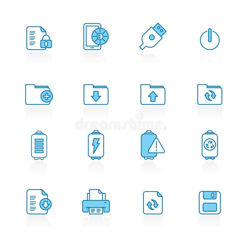 Γραμμή με το μπλε υπόβαθρο Διαδίκτυο, τον Ιστό και τα κινητά εικονίδια ελεύθερη απεικόνιση δικαιώματος