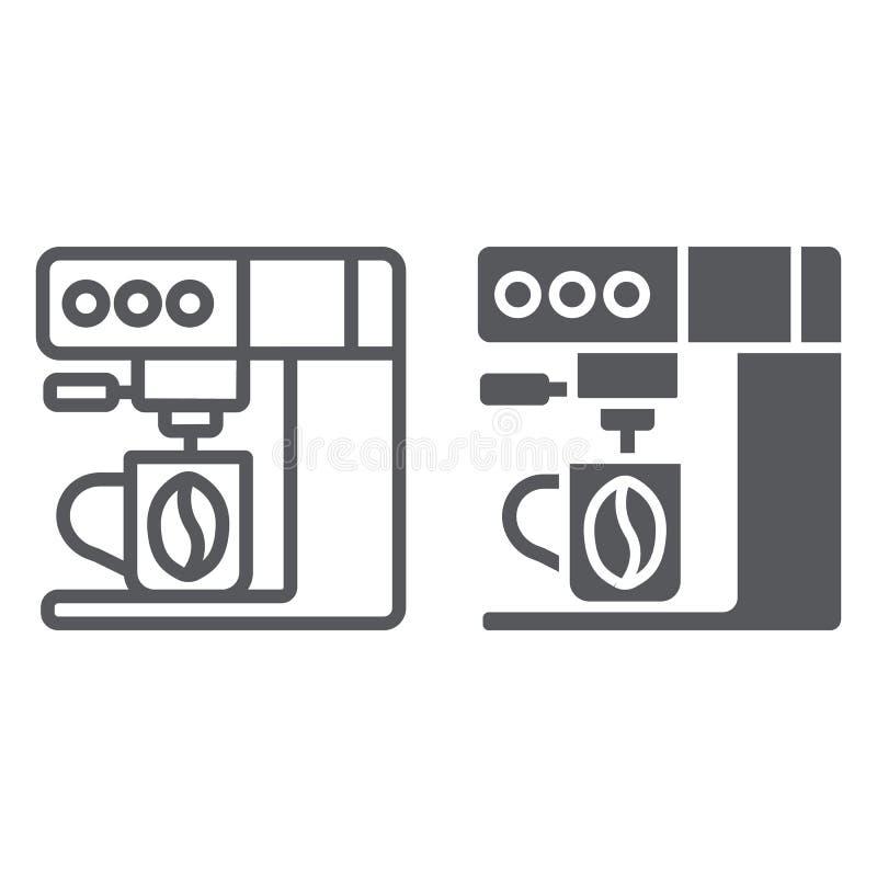 Γραμμή μηχανών καφέ και glyph εικονίδιο, οικογένεια και κουζίνα, σημάδι κατασκευαστών καφέ, διανυσματική γραφική παράσταση, ένα γ απεικόνιση αποθεμάτων