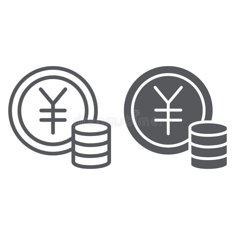 Γραμμή νομισμάτων γεν και glyph εικονίδιο, χρηματοδότηση και τραπεζικές εργασίες, σημάδι χρημάτων, διανυσματική γραφική παράσταση απεικόνιση αποθεμάτων