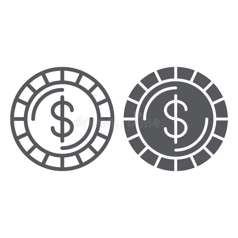 Γραμμή νομισμάτων χρημάτων και glyph εικονίδιο, χρηματοδότηση και χρήματα, σημάδι σεντ, διανυσματική γραφική παράσταση, ένα γραμμ διανυσματική απεικόνιση