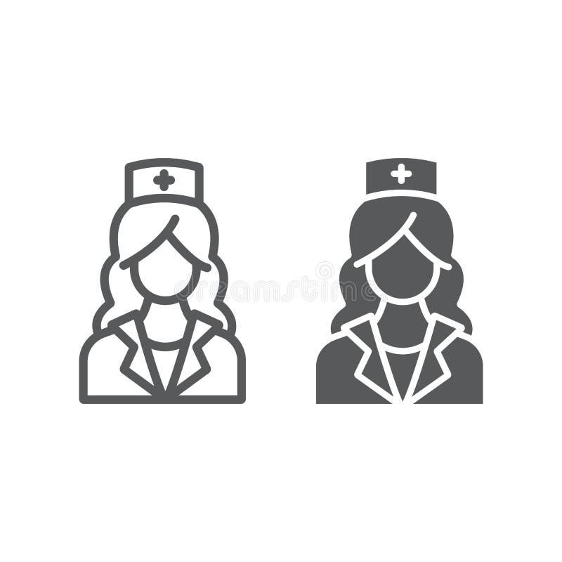 Γραμμή νοσοκόμων και glyph εικονίδιο, ιατρική και κλινικός διανυσματική απεικόνιση