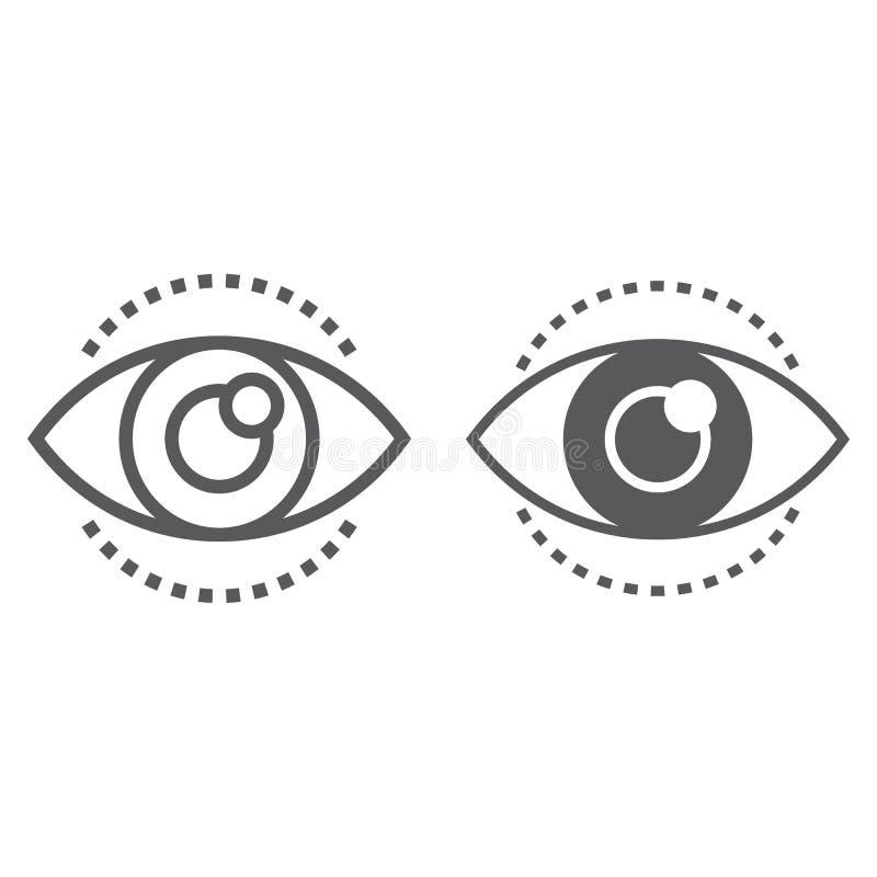 Γραμμή οράματος και glyph εικονίδιο, ανάπτυξη ελεύθερη απεικόνιση δικαιώματος