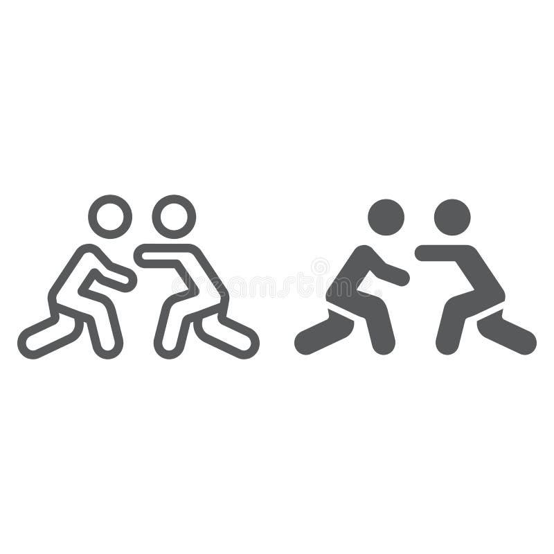 Γραμμή πάλης και glyph εικονίδιο, αθλητισμός και αγώνας, παλαιστές που παλεύουν το σημάδι, διανυσματική γραφική παράσταση, ένα γρ διανυσματική απεικόνιση