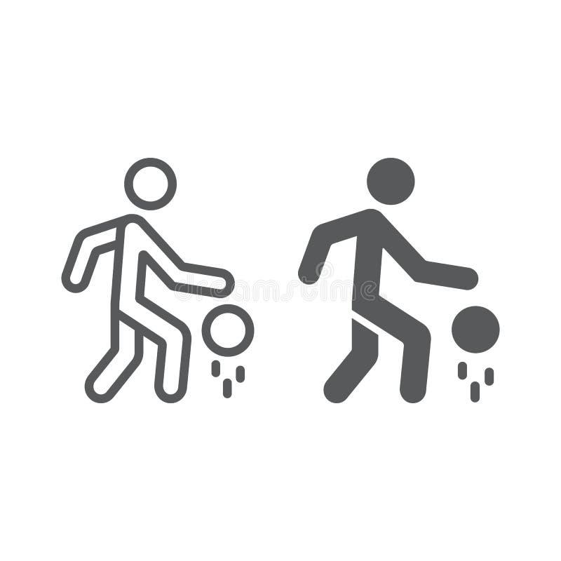 Γραμμή παίχτης μπάσκετ και glyph εικονίδιο, αθλητισμός και δράση, άτομο με το σημάδι σφαιρών, διανυσματική γραφική παράσταση, ένα διανυσματική απεικόνιση