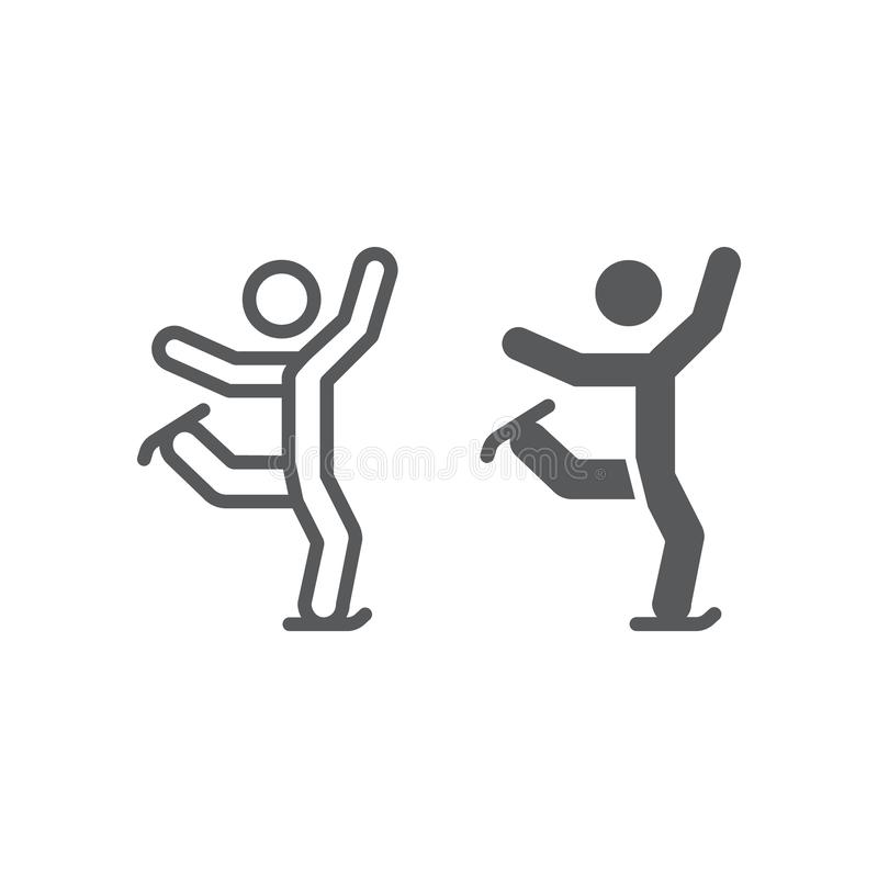 Γραμμή πατινάζ αριθμού και glyph εικονίδιο, αθλητισμός και σαλάχι, σημάδι πατινάζ πάγου, διανυσματική γραφική παράσταση, ένα γραμ διανυσματική απεικόνιση