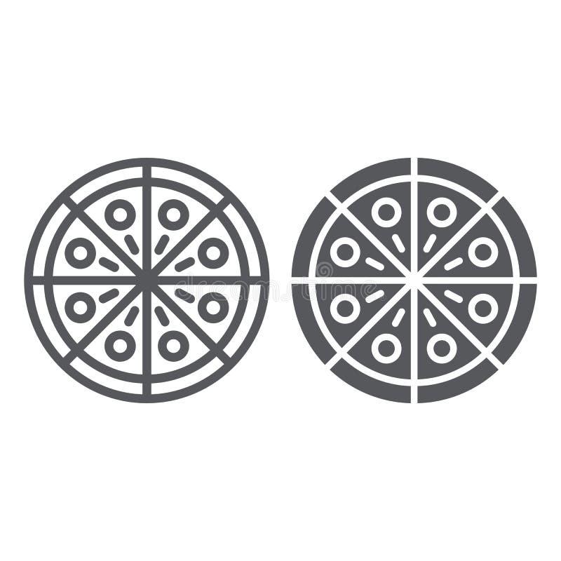 Γραμμή πιτσών και glyph εικονίδιο, κόμμα και γεύμα, σημάδι γρήγορου φαγητού, διανυσματική γραφική παράσταση, ένα γραμμικό σχέδιο  ελεύθερη απεικόνιση δικαιώματος