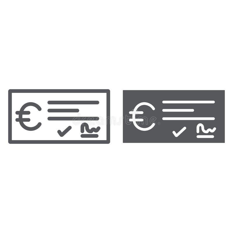 Γραμμή πληρωμής ελέγχου τράπεζας και glyph εικονίδιο, χρηματοδότηση και τραπεζικές εργασίες, σημάδι επιταγών, διανυσματική γραφικ ελεύθερη απεικόνιση δικαιώματος