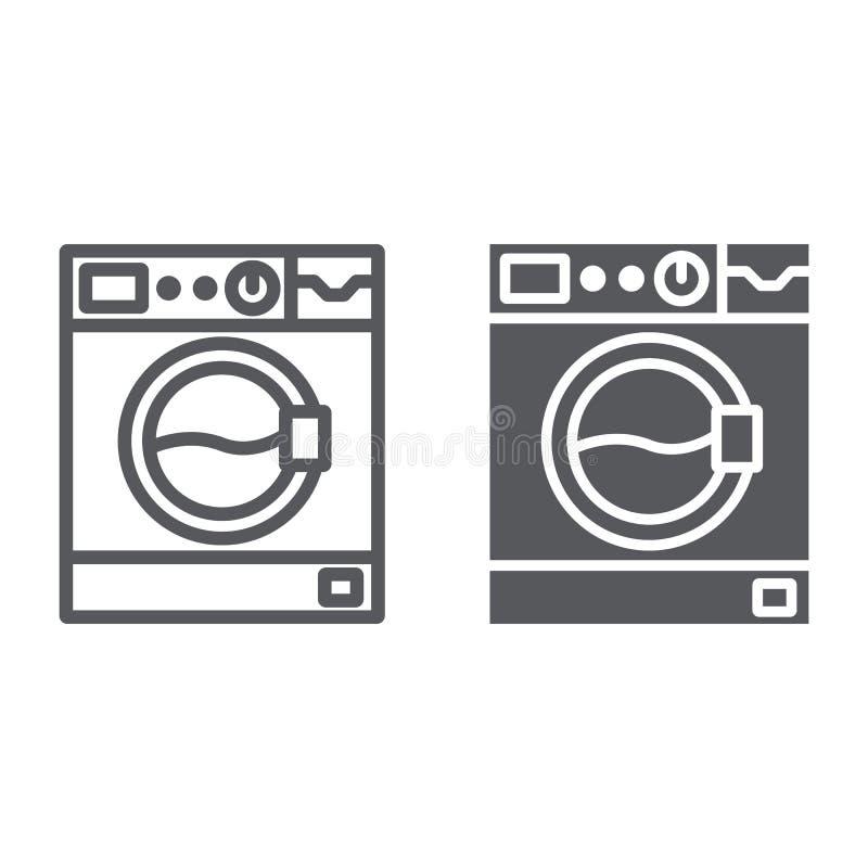 Γραμμή πλυντηρίων και glyph εικονίδιο, συσκευή και πλύσιμο, σημάδι πλυντηρίων, διανυσματική γραφική παράσταση, ένα γραμμικό σχέδι ελεύθερη απεικόνιση δικαιώματος