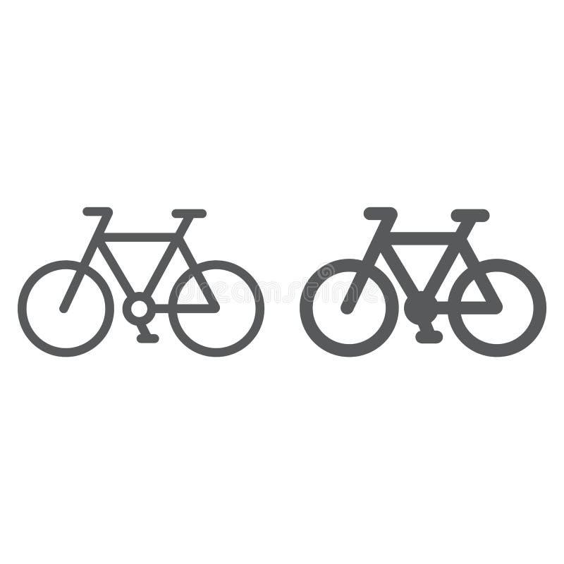 Γραμμή ποδηλάτων και glyph εικονίδιο, κύκλος και αθλητισμός, σημάδι ποδηλάτων, διανυσματική γραφική παράσταση, ένα γραμμικό σχέδι ελεύθερη απεικόνιση δικαιώματος
