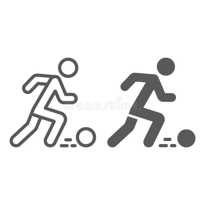 Γραμμή ποδοσφαιριστών και glyph εικονίδιο, αθλητισμός και ποδόσφαιρο, σημάδι ποδοσφαιριστών, διανυσματική γραφική παράσταση, ένα  ελεύθερη απεικόνιση δικαιώματος