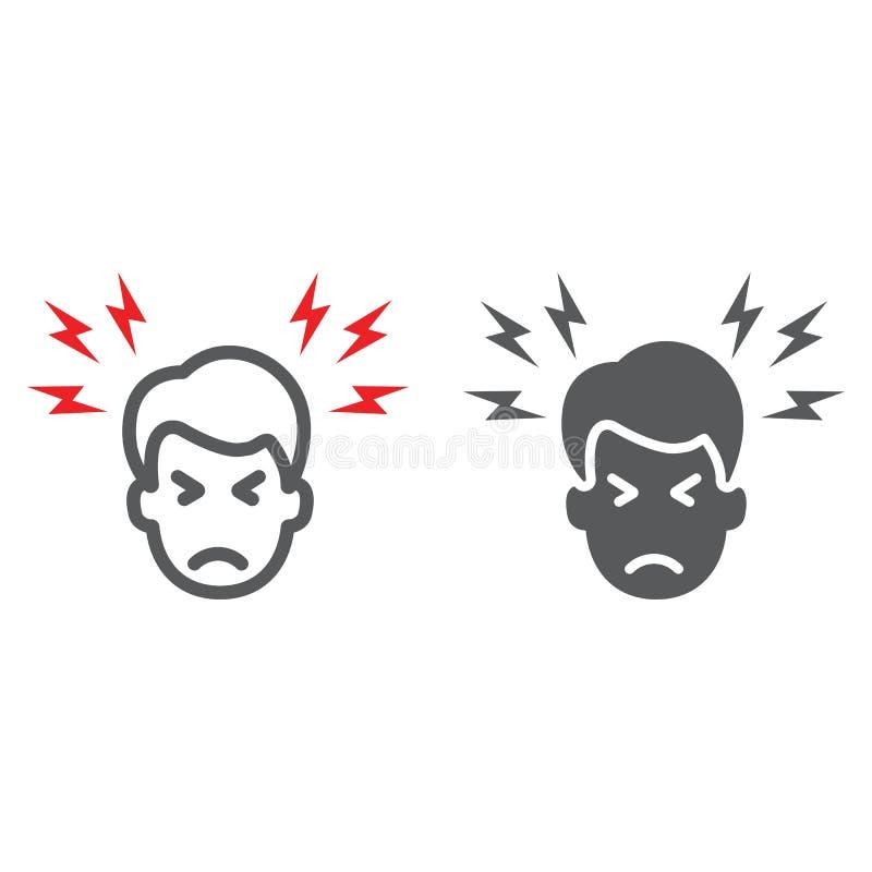 Γραμμή πονοκέφαλου και glyph εικονίδιο, σώμα και πόνος, επικεφαλής σημάδι πόνου, διανυσματική γραφική παράσταση, ένα γραμμικό σχέ διανυσματική απεικόνιση