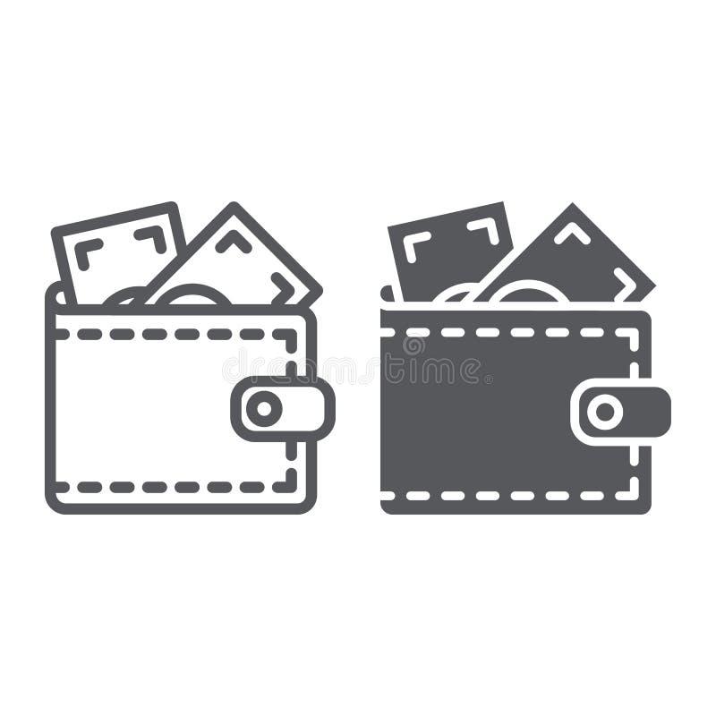 Γραμμή πορτοφολιών και glyph εικονίδιο, χρηματοδότηση και μετρητά, σημάδι πορτοφολιών, διανυσματική γραφική παράσταση, ένα γραμμι απεικόνιση αποθεμάτων