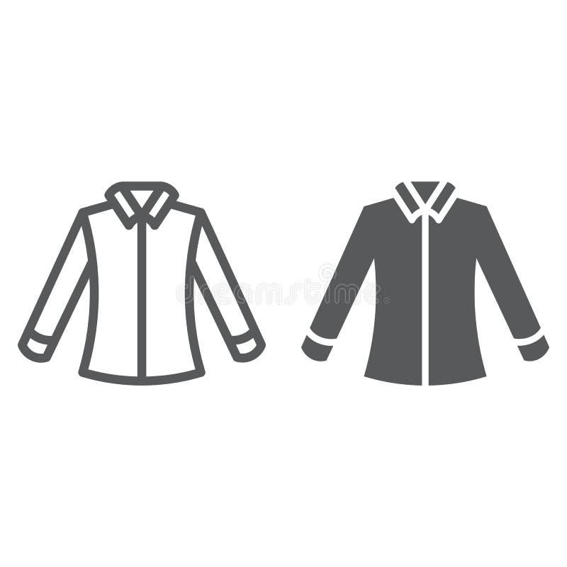 Γραμμή πουκάμισων και glyph εικονίδιο, ιματισμός και επίσημος, σημάδι μπλουζών, διανυσματική γραφική παράσταση, ένα γραμμικό σχέδ απεικόνιση αποθεμάτων