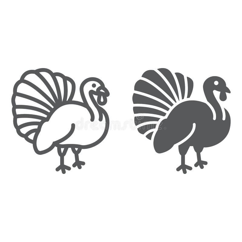 Γραμμή πουλιών της Τουρκίας και glyph εικονίδιο, ζώο και αγρόκτημα, σημάδι πουλερικών, διανυσματική γραφική παράσταση, ένα γραμμι ελεύθερη απεικόνιση δικαιώματος