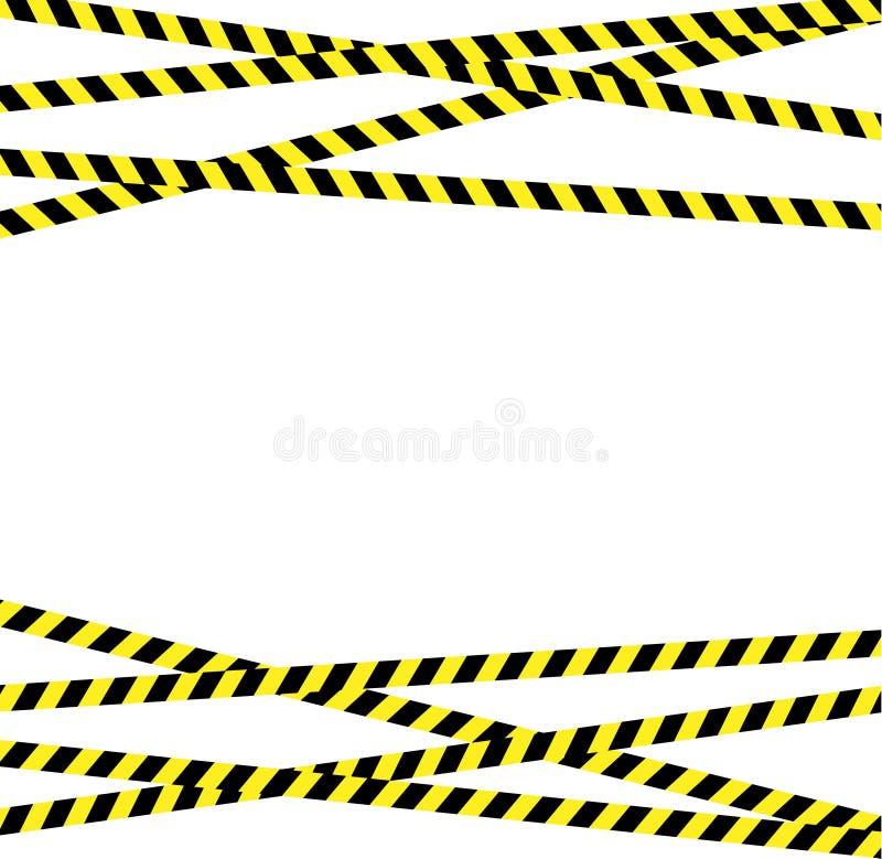Γραμμή προσοχής με τα κίτρινα και μαύρα λωρίδες ελεύθερη απεικόνιση δικαιώματος