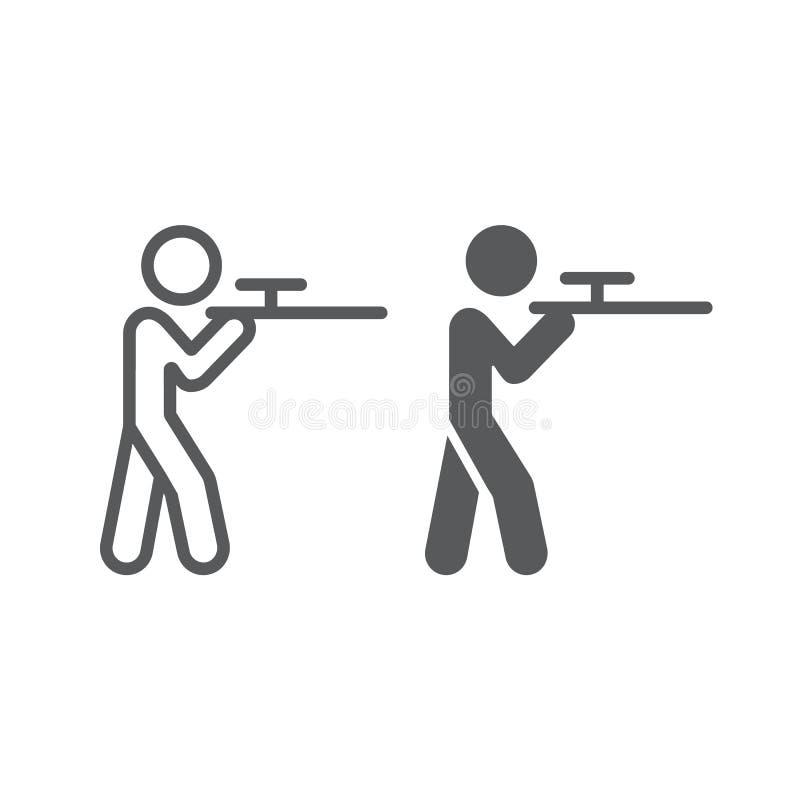 Γραμμή πυροβολισμού και glyph εικονίδιο, κυνήγι και κυνηγετικό όπλο, άτομο με το σημάδι ρευμάτων ποταμού, διανυσματική γραφική πα διανυσματική απεικόνιση